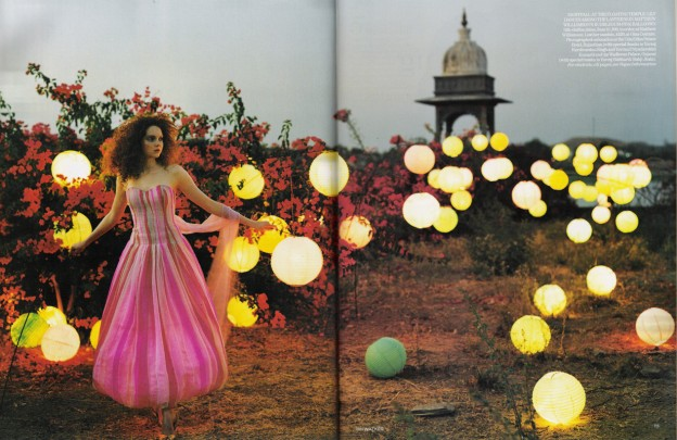 lily cole, india shoot, matthew williamson dress