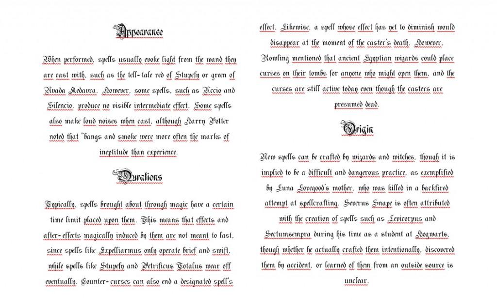 standard book of spell - innhold og skrift