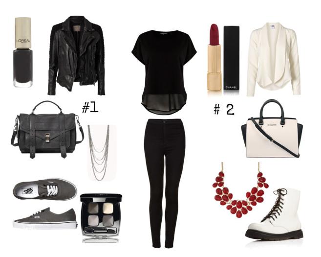 svart bukse og svart transparent topp
